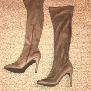Brown suede like over the knee boots